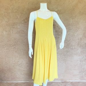 Banana Republic Pintuck Midi Yellow Sun Dress Su19